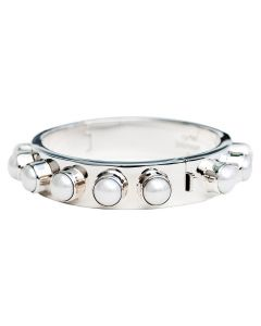 Sterling Silver Hinged Bangle Bracelet | Pearl Cabochon Studded