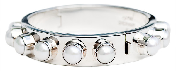 Sterling Silver Hinged Bangle Bracelet with Pearl Cabochons